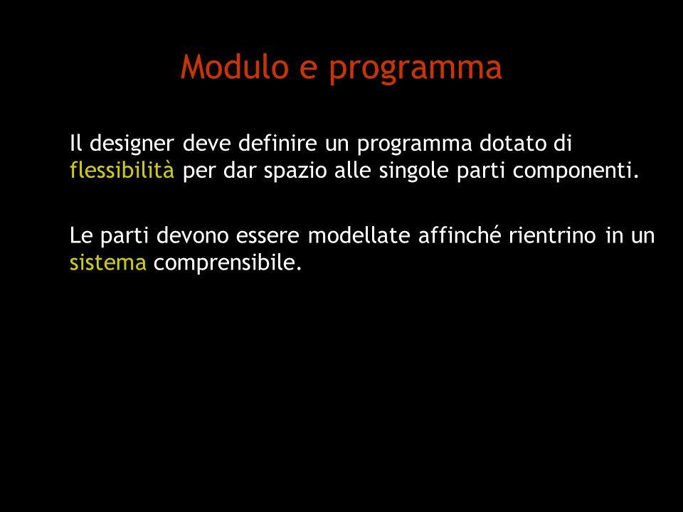 Modulo e programma Il designer deve definire un programma dotato di flessibilità per dar spazio alle singole parti componenti. Le parti devono essere