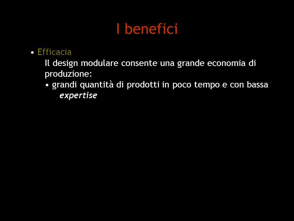 I benefici Efficacia Il design modulare consente una grande economia di produzione: grandi quantità di prodotti in poco tempo e con bassa expertise