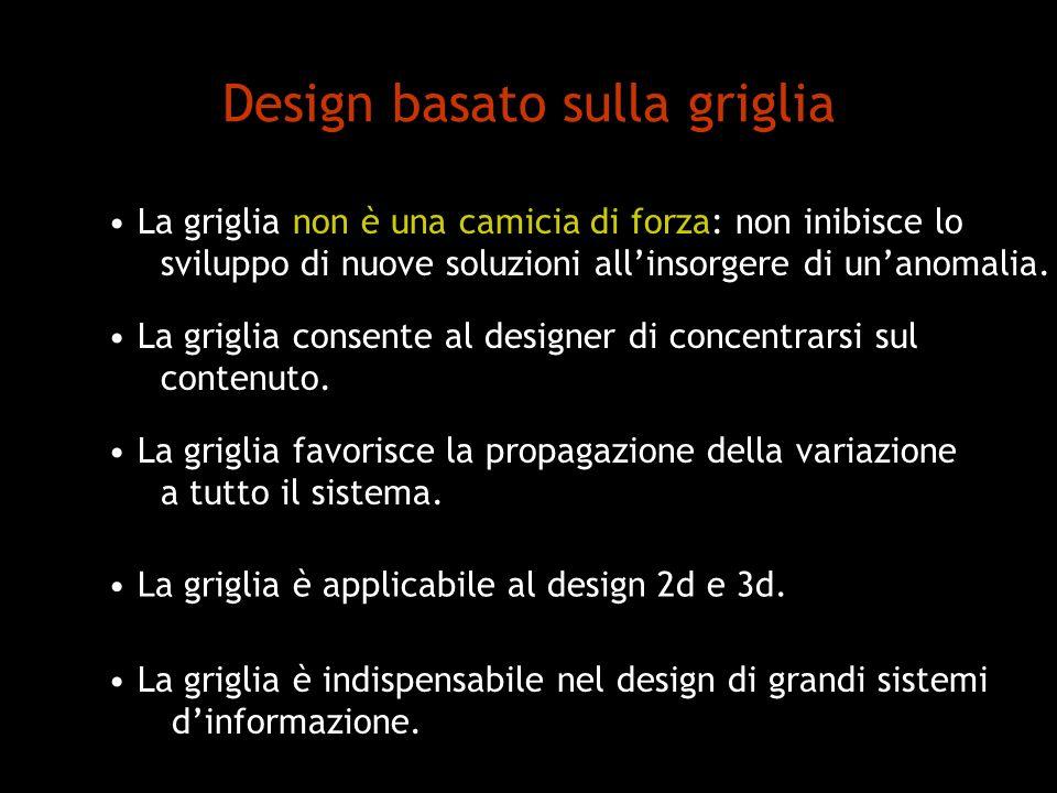 Design basato sulla griglia La griglia non è una camicia di forza: non inibisce lo sviluppo di nuove soluzioni allinsorgere di unanomalia. La griglia