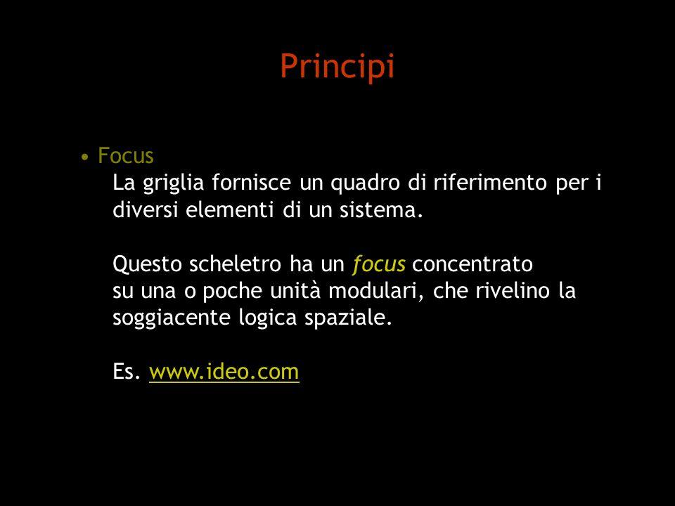 Principi Focus La griglia fornisce un quadro di riferimento per i diversi elementi di un sistema. Questo scheletro ha un focus concentrato su una o po