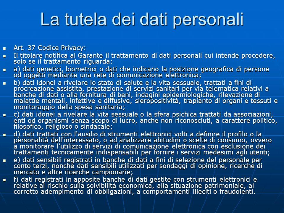 La tutela dei dati personali Art. 37 Codice Privacy: Art.