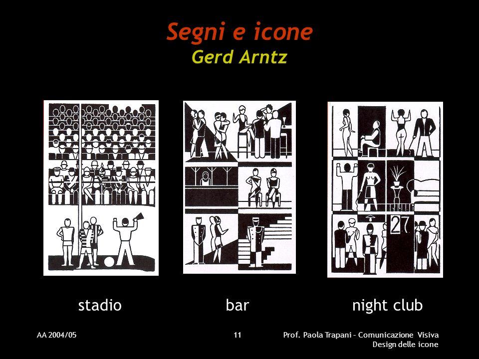 AA 2004/05Prof. Paola Trapani – Comunicazione Visiva Design delle icone 11 Segni e icone Gerd Arntz stadiobarnight club