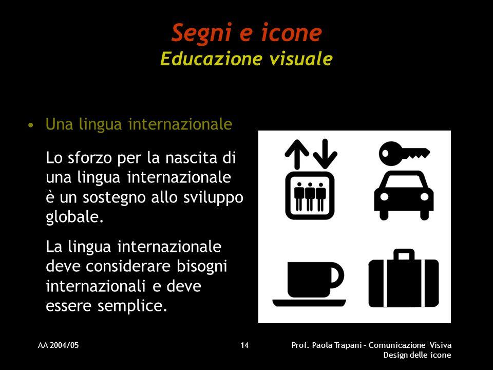 AA 2004/05Prof. Paola Trapani – Comunicazione Visiva Design delle icone 14 Segni e icone Educazione visuale Una lingua internazionale Lo sforzo per la