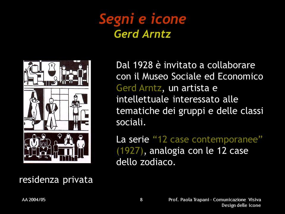 AA 2004/05Prof. Paola Trapani – Comunicazione Visiva Design delle icone 8 Segni e icone Gerd Arntz Dal 1928 è invitato a collaborare con il Museo Soci