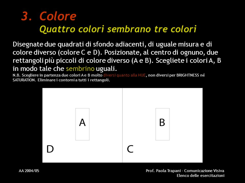AA 2004/05Prof. Paola Trapani - Comunicazione Visiva Elenco delle esercitazioni 3.Colore Quattro colori sembrano tre colori Disegnate due quadrati di