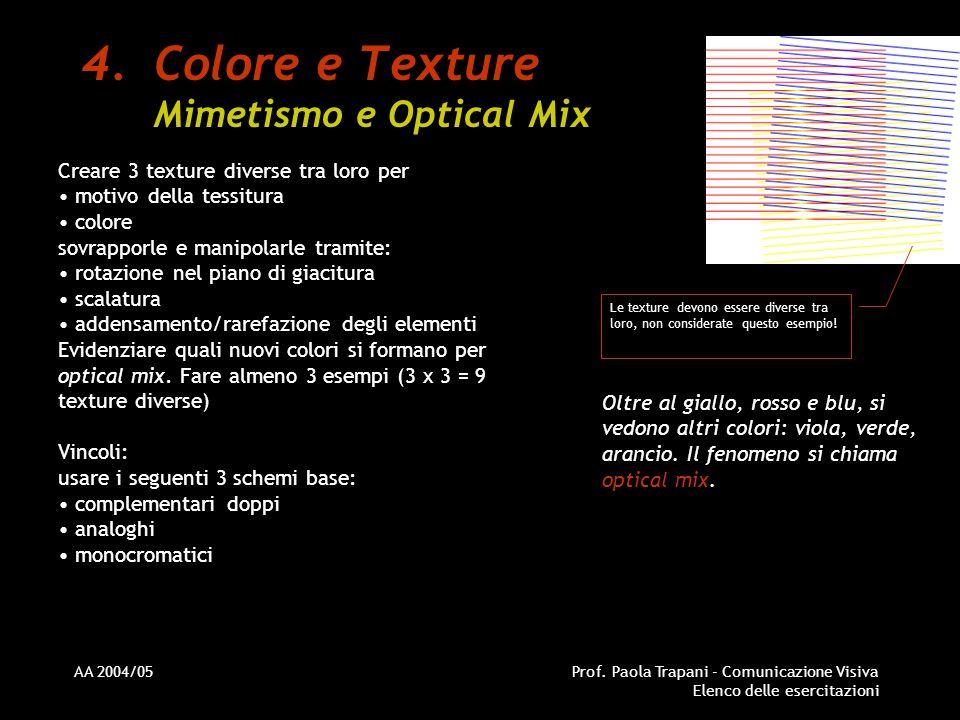 AA 2004/05Prof. Paola Trapani - Comunicazione Visiva Elenco delle esercitazioni 4.Colore e Texture Mimetismo e Optical Mix Creare 3 texture diverse tr