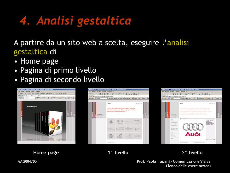 AA 2004/05Prof. Paola Trapani - Comunicazione Visiva Elenco delle esercitazioni 4.Analisi gestaltica A partire da un sito web a scelta, eseguire lanal