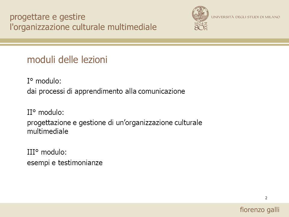 2 moduli delle lezioni I° modulo: dai processi di apprendimento alla comunicazione II° modulo: progettazione e gestione di unorganizzazione culturale