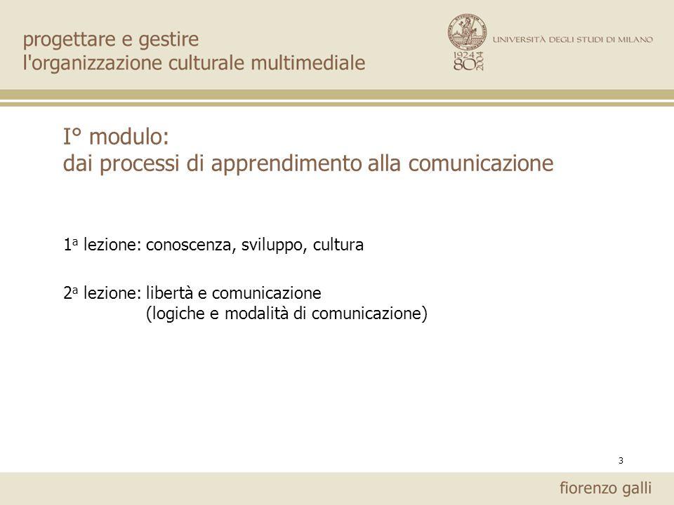 3 I° modulo: dai processi di apprendimento alla comunicazione 1 a lezione: conoscenza, sviluppo, cultura 2 a lezione: libertà e comunicazione (logiche