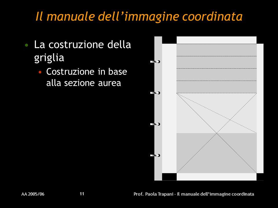 AA 2005/06Prof. Paola Trapani – Il manuale dellimmagine coordinata 11 Il manuale dellimmagine coordinata La costruzione della griglia Costruzione in b