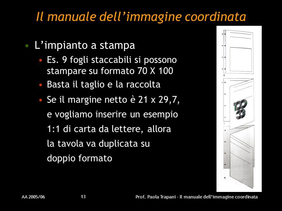 AA 2005/06Prof. Paola Trapani – Il manuale dellimmagine coordinata 13 Il manuale dellimmagine coordinata Limpianto a stampa Es. 9 fogli staccabili si