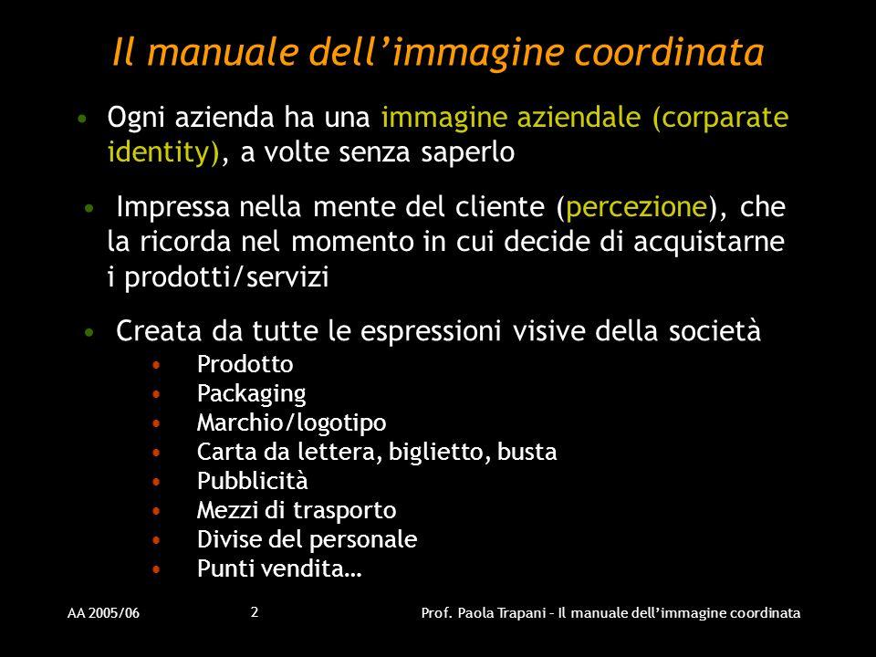 AA 2005/06Prof. Paola Trapani – Il manuale dellimmagine coordinata 2 Il manuale dellimmagine coordinata Ogni azienda ha una immagine aziendale (corpar