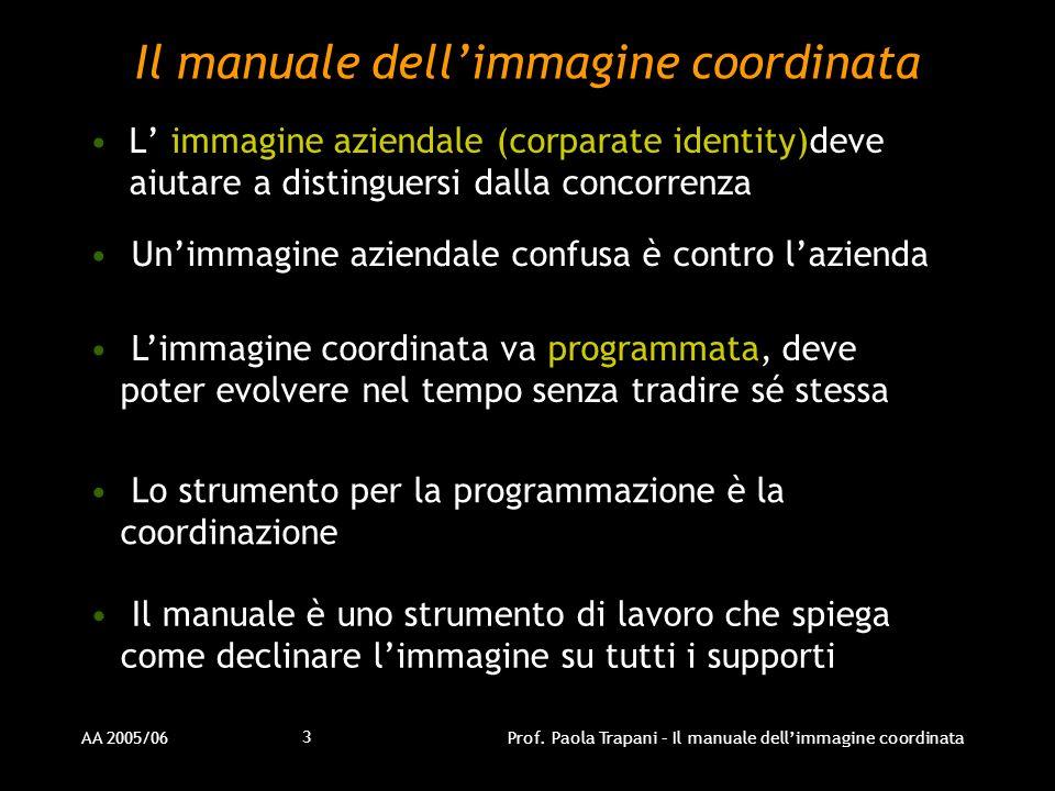 AA 2005/06Prof. Paola Trapani – Il manuale dellimmagine coordinata 3 Il manuale dellimmagine coordinata L immagine aziendale (corparate identity)deve