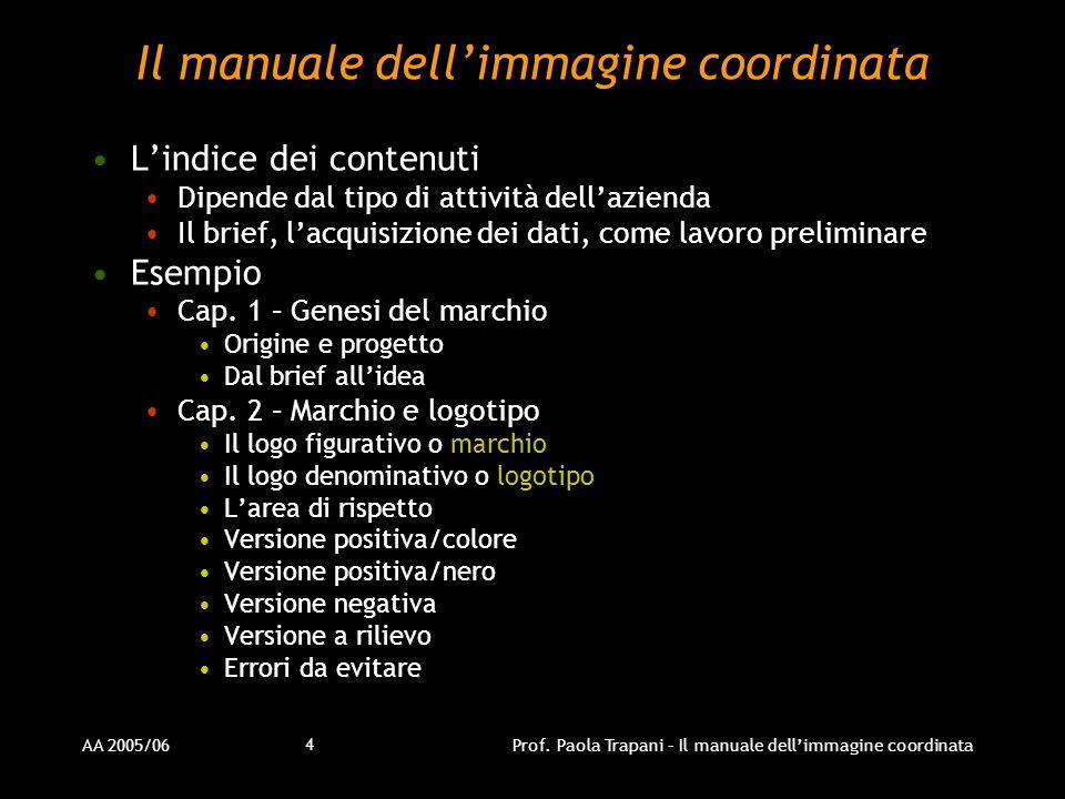 AA 2005/06Prof. Paola Trapani – Il manuale dellimmagine coordinata 4 Il manuale dellimmagine coordinata Lindice dei contenuti Dipende dal tipo di atti