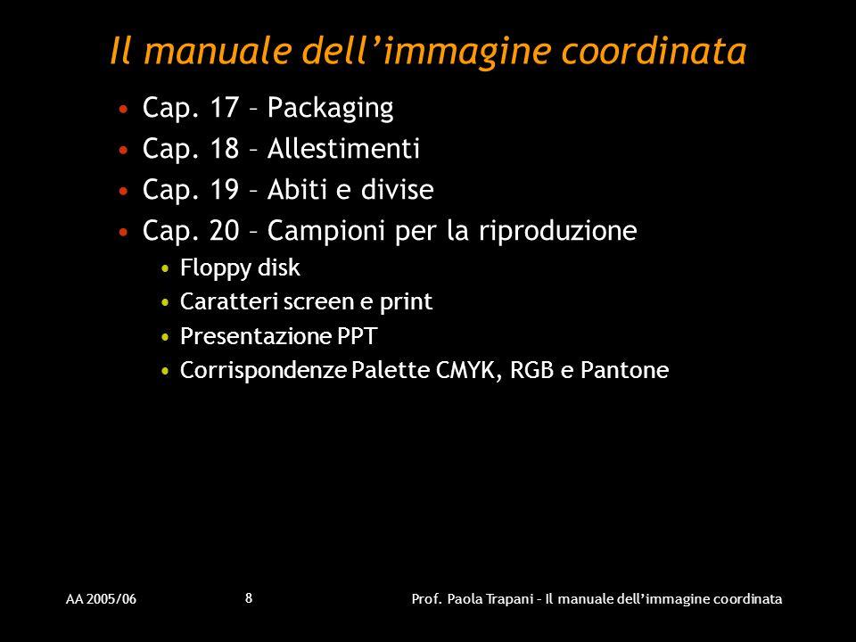 AA 2005/06Prof. Paola Trapani – Il manuale dellimmagine coordinata 8 Il manuale dellimmagine coordinata Cap. 17 – Packaging Cap. 18 – Allestimenti Cap