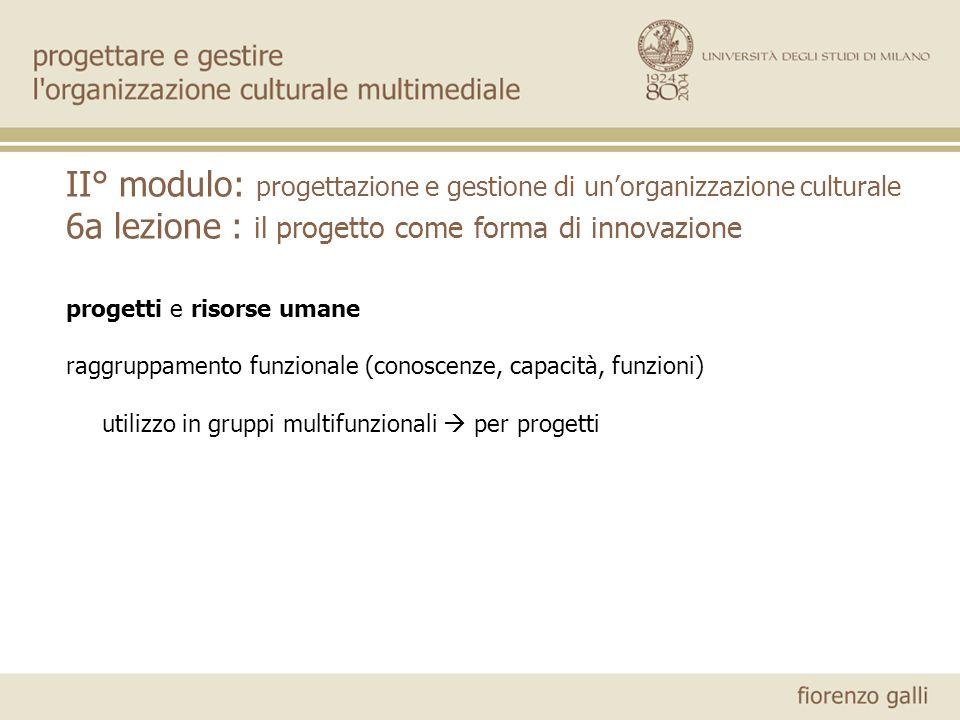 II° modulo: progettazione e gestione di unorganizzazione culturale 6a lezione : il progetto come forma di innovazione progetti e risorse umane raggruppamento funzionale (conoscenze, capacità, funzioni) utilizzo in gruppi multifunzionali per progetti