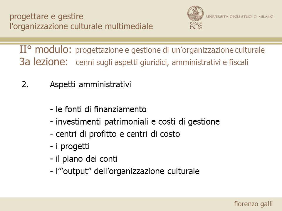 II° modulo: progettazione e gestione di unorganizzazione culturale 3a lezione: cenni sugli aspetti giuridici, amministrativi e fiscali 2.