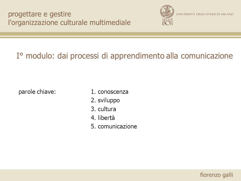 I° modulo: dai processi di apprendimento alla comunicazione parole chiave:1. conoscenza 2. sviluppo 3. cultura 4. libertà 5. comunicazione