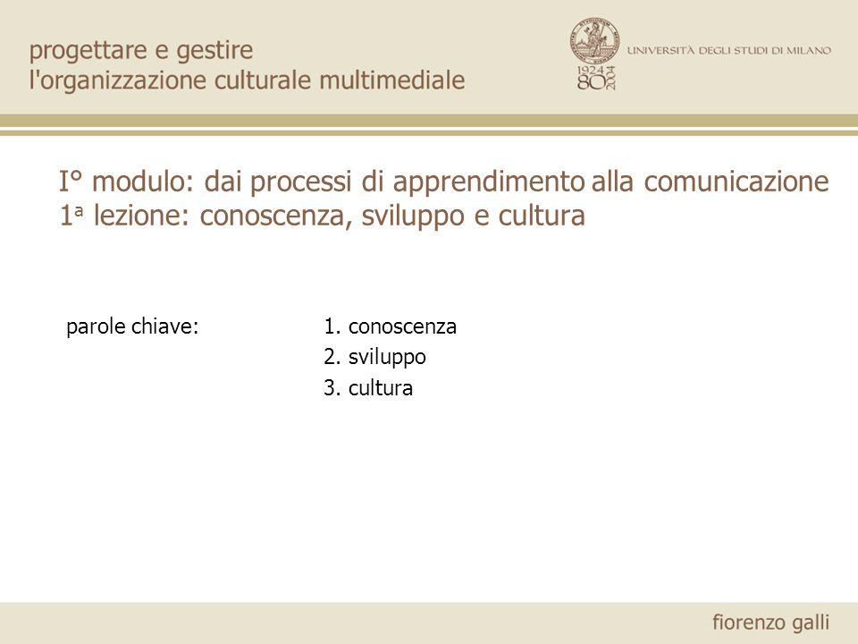 I° modulo: dai processi di apprendimento alla comunicazione 1 a lezione: conoscenza, sviluppo e cultura parole chiave:1. conoscenza 2. sviluppo 3. cul