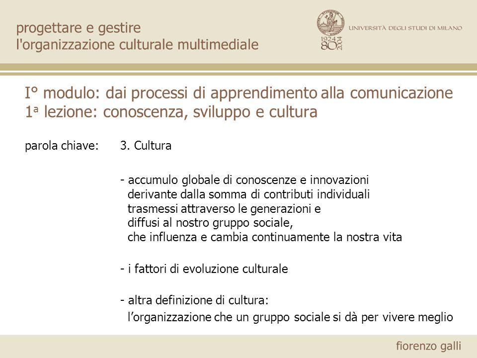 parola chiave:3. Cultura - accumulo globale di conoscenze e innovazioni derivante dalla somma di contributi individuali trasmessi attraverso le genera