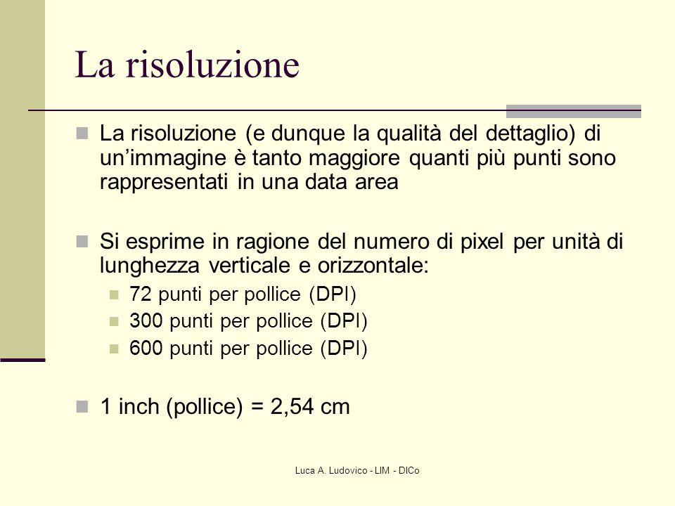 Luca A. Ludovico - LIM - DICo La risoluzione La risoluzione (e dunque la qualità del dettaglio) di unimmagine è tanto maggiore quanti più punti sono r