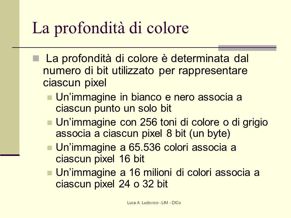 Luca A. Ludovico - LIM - DICo La profondità di colore La profondità di colore è determinata dal numero di bit utilizzato per rappresentare ciascun pix