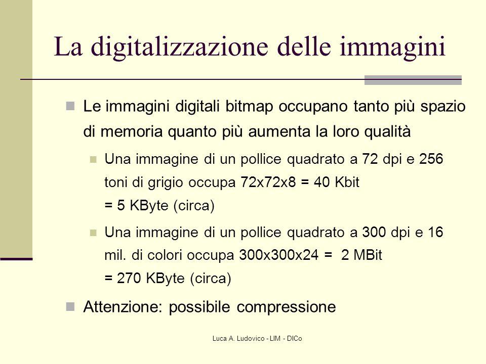 Luca A. Ludovico - LIM - DICo La digitalizzazione delle immagini Le immagini digitali bitmap occupano tanto più spazio di memoria quanto più aumenta l