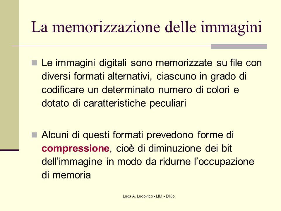 Luca A. Ludovico - LIM - DICo La memorizzazione delle immagini Le immagini digitali sono memorizzate su file con diversi formati alternativi, ciascuno