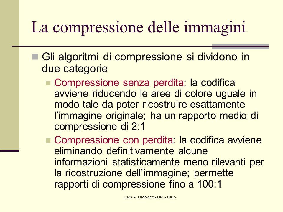 Luca A. Ludovico - LIM - DICo La compressione delle immagini Gli algoritmi di compressione si dividono in due categorie Compressione senza perdita: la