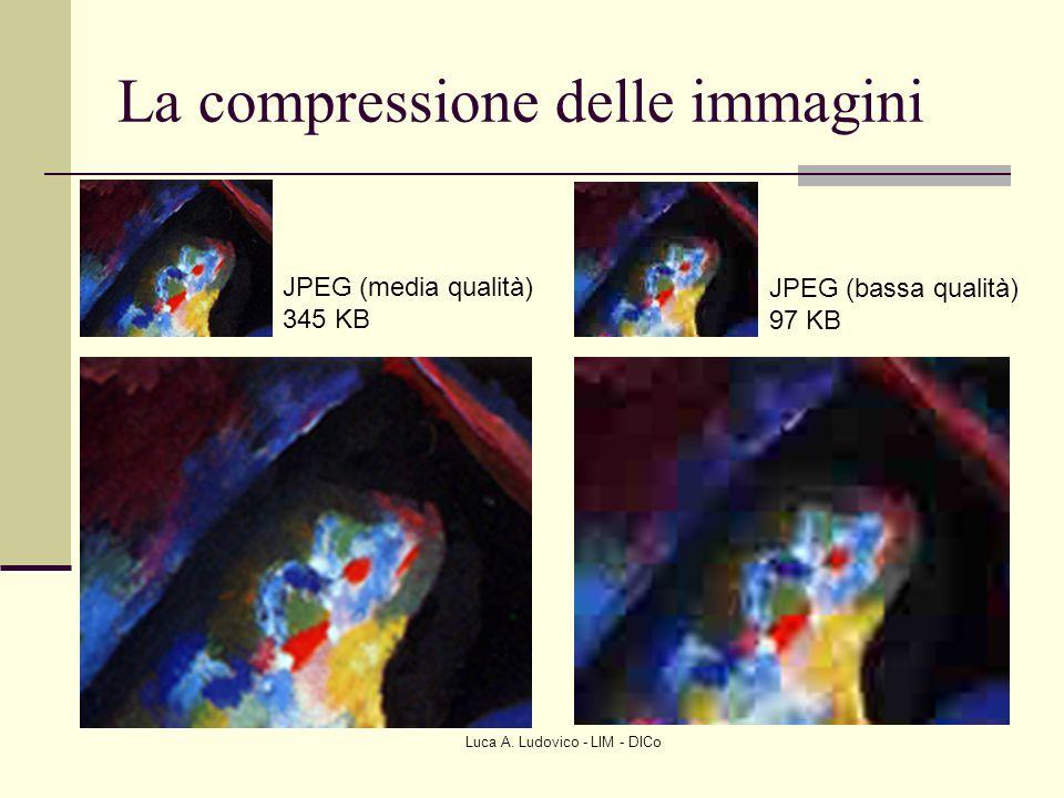 Luca A. Ludovico - LIM - DICo La compressione delle immagini JPEG (media qualità) 345 KB JPEG (bassa qualità) 97 KB