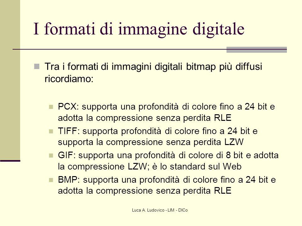 Luca A. Ludovico - LIM - DICo I formati di immagine digitale Tra i formati di immagini digitali bitmap più diffusi ricordiamo: PCX: supporta una profo