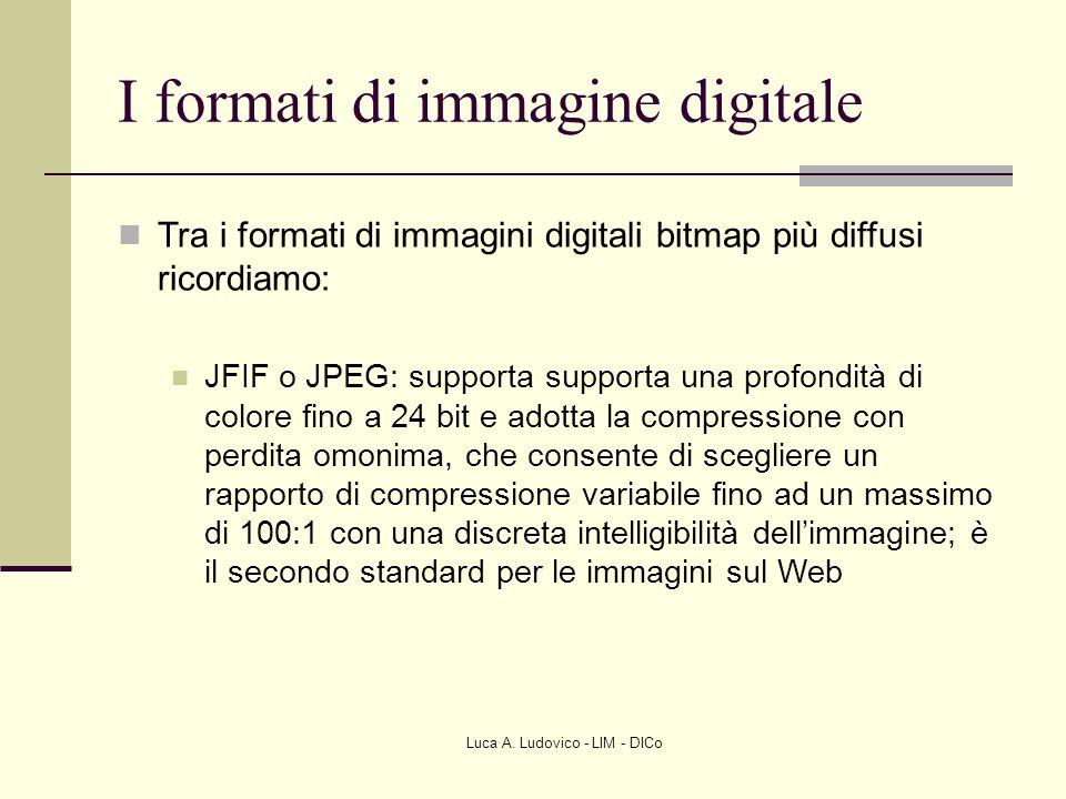 Luca A. Ludovico - LIM - DICo I formati di immagine digitale Tra i formati di immagini digitali bitmap più diffusi ricordiamo: JFIF o JPEG: supporta s