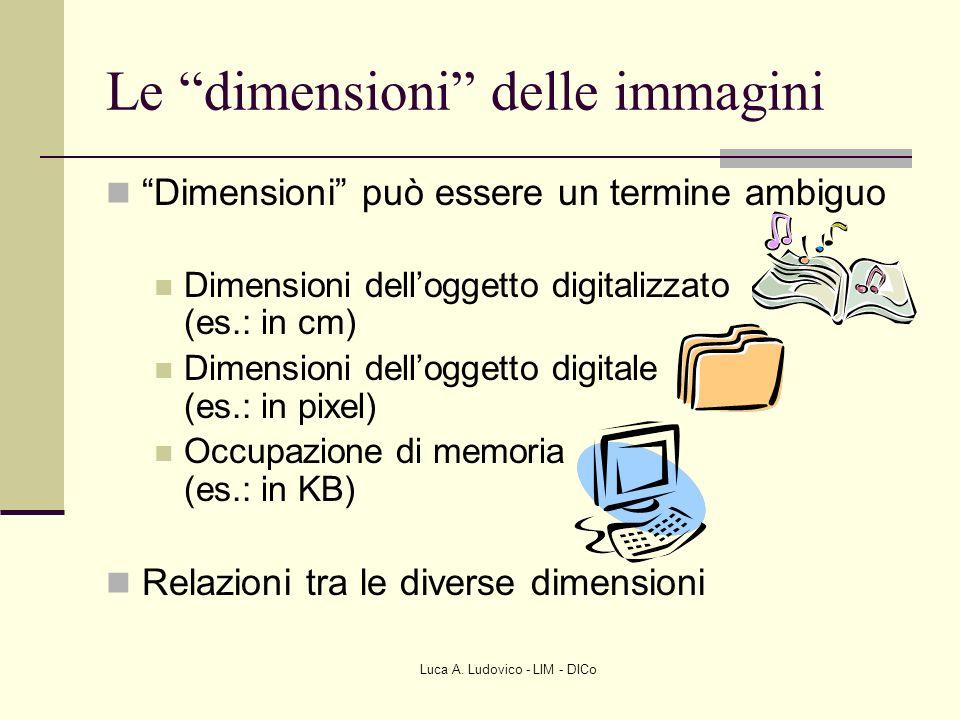 Luca A. Ludovico - LIM - DICo Le dimensioni delle immagini Dimensioni può essere un termine ambiguo Dimensioni delloggetto digitalizzato (es.: in cm)