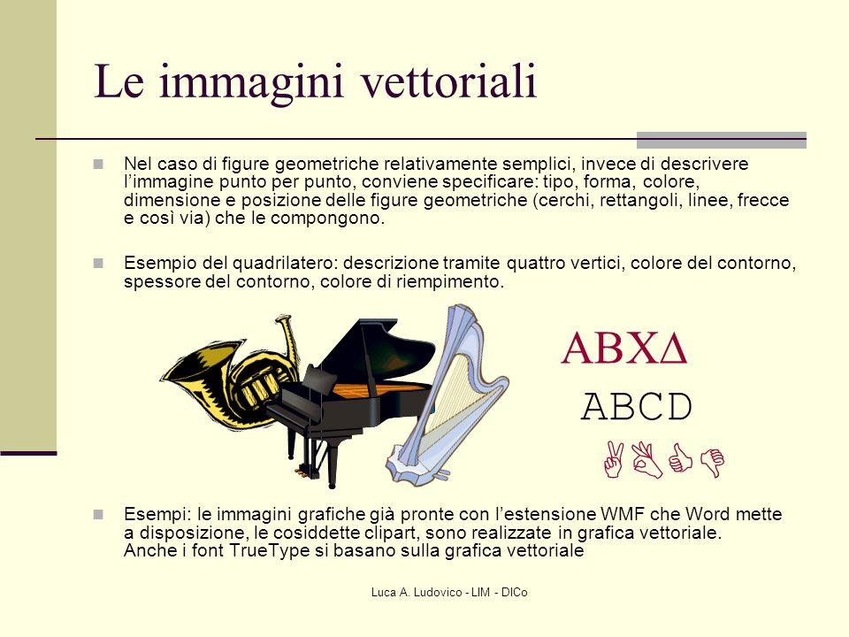 Luca A. Ludovico - LIM - DICo Le immagini vettoriali Nel caso di figure geometriche relativamente semplici, invece di descrivere limmagine punto per p