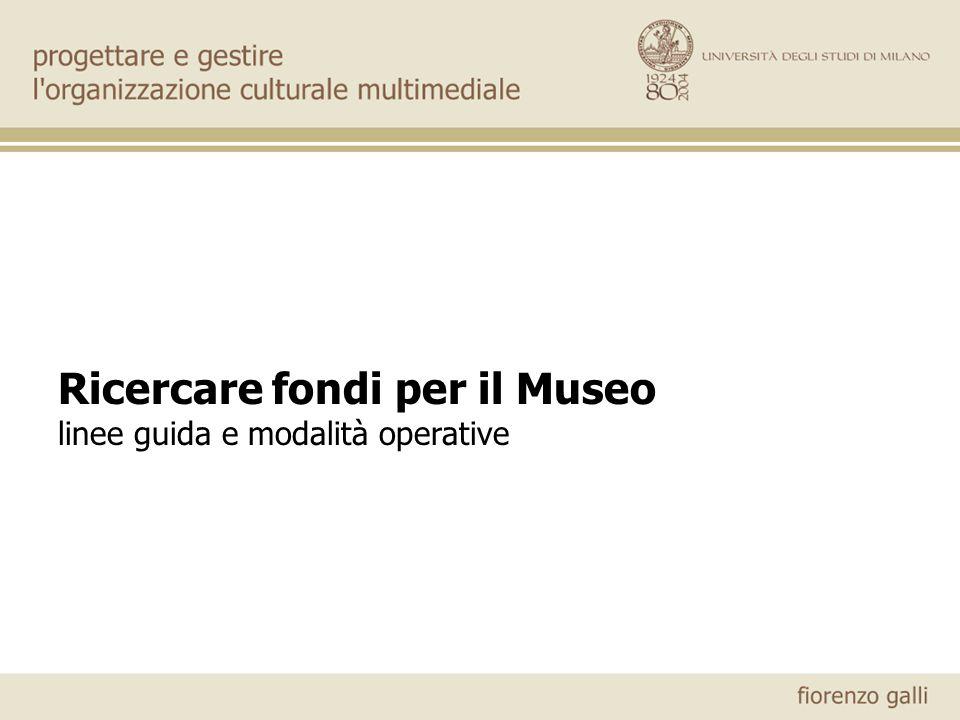 Ricercare fondi per il Museo linee guida e modalità operative