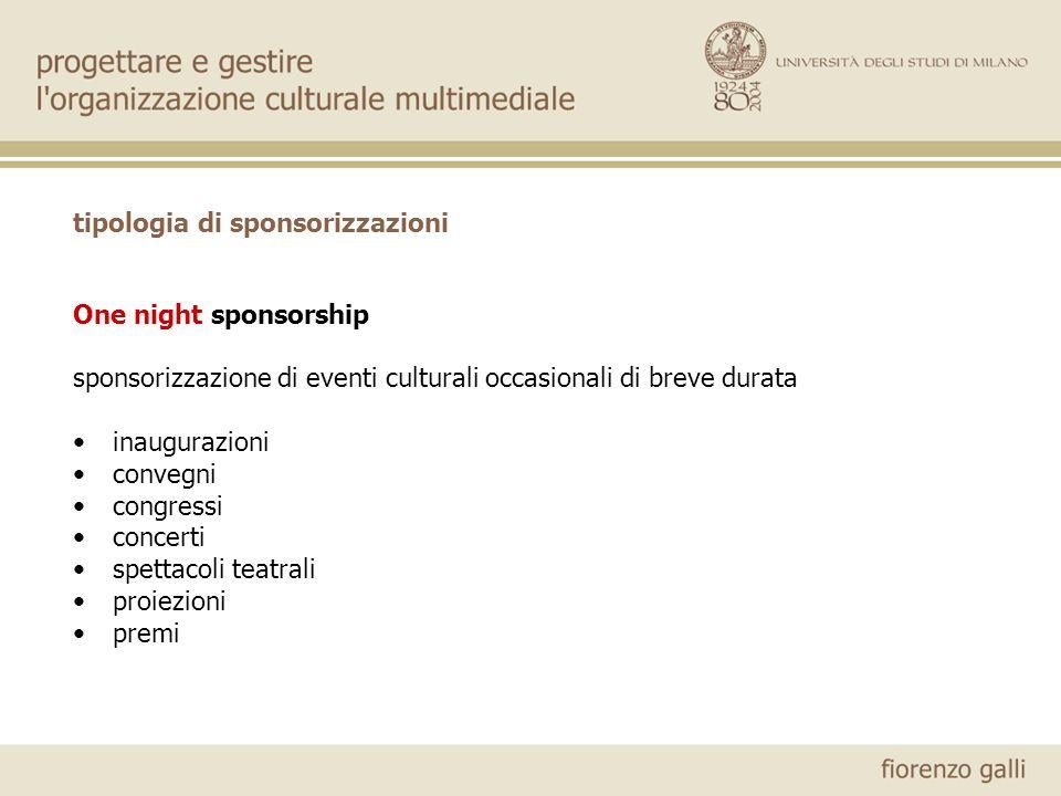 tipologia di sponsorizzazioni One night sponsorship sponsorizzazione di eventi culturali occasionali di breve durata inaugurazioni convegni congressi