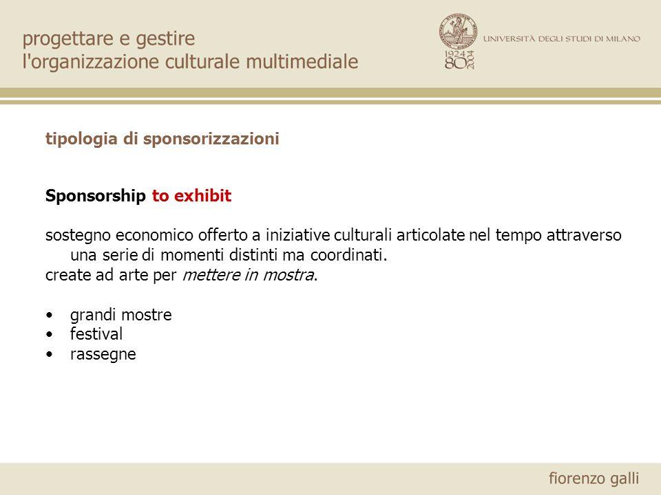 tipologia di sponsorizzazioni Sponsorship to exhibit sostegno economico offerto a iniziative culturali articolate nel tempo attraverso una serie di momenti distinti ma coordinati.