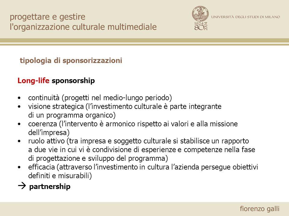 tipologia di sponsorizzazioni Long-life sponsorship continuità (progetti nel medio-lungo periodo) visione strategica (linvestimento culturale è parte