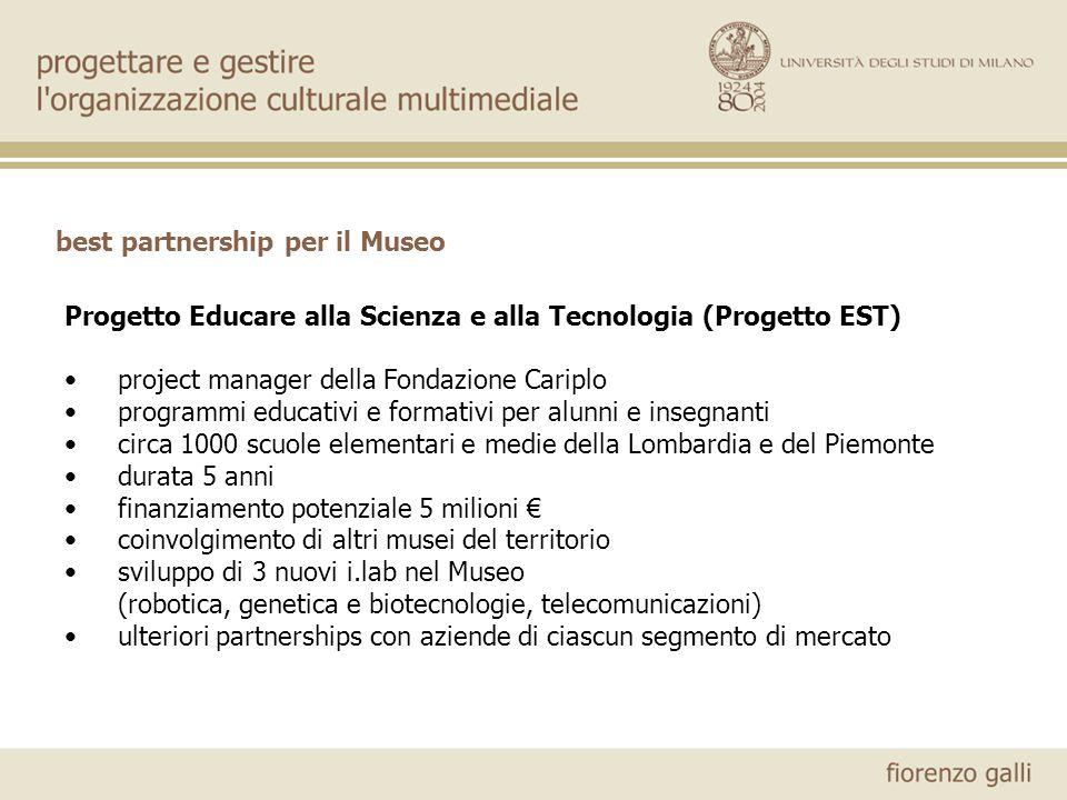 best partnership per il Museo Progetto Educare alla Scienza e alla Tecnologia (Progetto EST) project manager della Fondazione Cariplo programmi educat