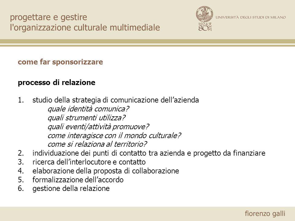 come far sponsorizzare processo di relazione 1.studio della strategia di comunicazione dellazienda quale identità comunica? quali strumenti utilizza?