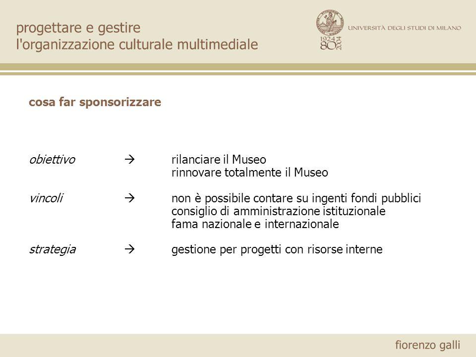 cosa far sponsorizzare obiettivo rilanciare il Museo rinnovare totalmente il Museo vincoli non è possibile contare su ingenti fondi pubblici consiglio
