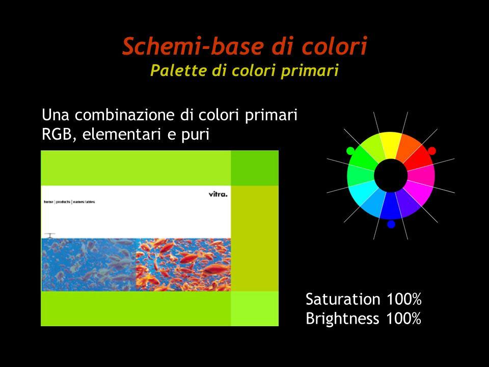 Schemi-base di colori Palette di colori primari Saturation 100% Brightness 100% Una combinazione di colori primari RGB, elementari e puri