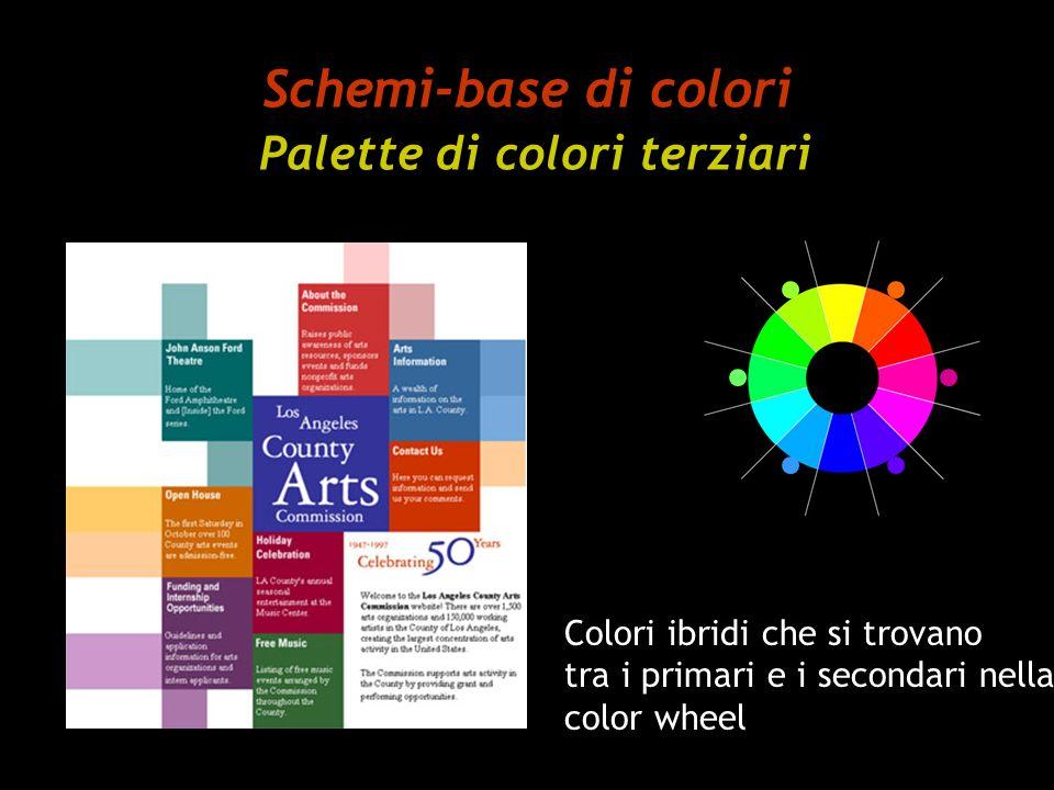 Schemi-base di colori Palette di colori terziari Colori ibridi che si trovano tra i primari e i secondari nella color wheel