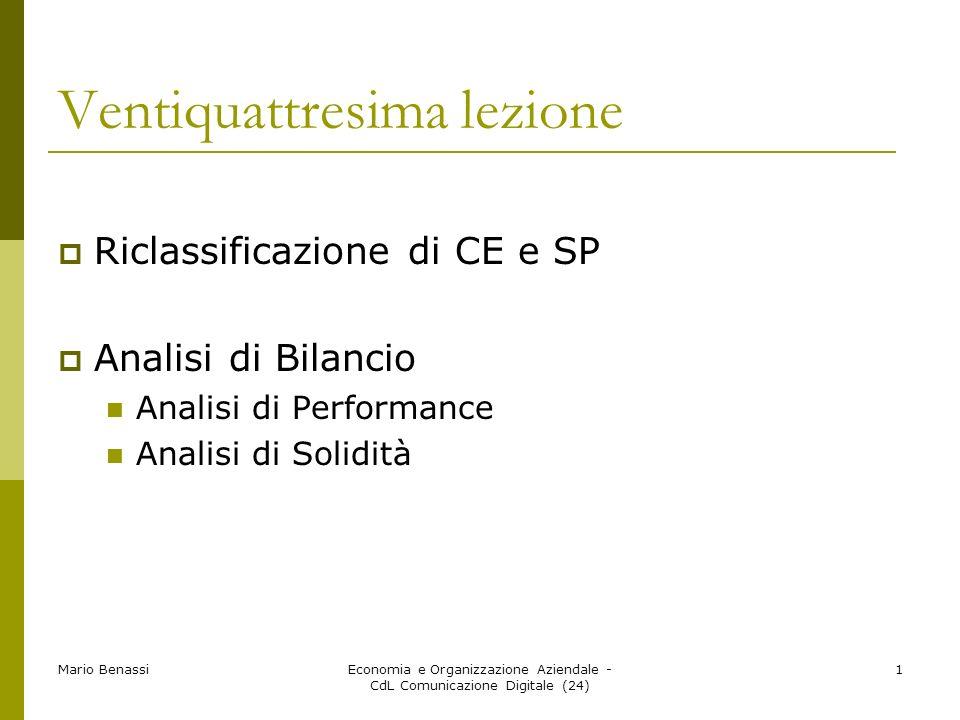 Mario BenassiEconomia e Organizzazione Aziendale - CdL Comunicazione Digitale (24) 1 Ventiquattresima lezione Riclassificazione di CE e SP Analisi di