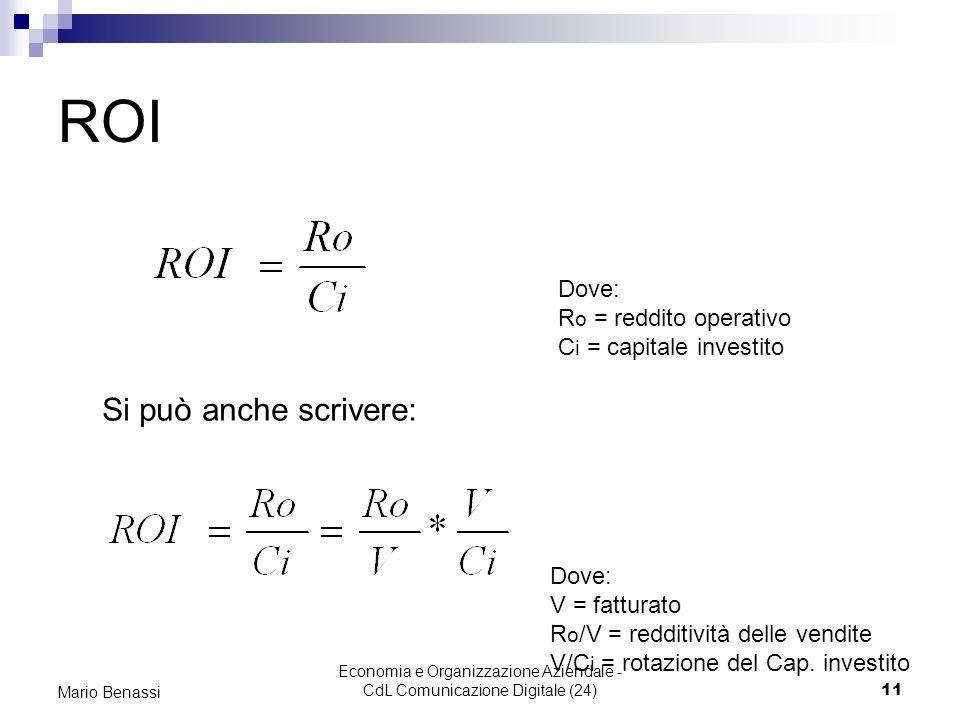 Economia e Organizzazione Aziendale - CdL Comunicazione Digitale (24)11 Mario Benassi ROI Dove: R o = reddito operativo C i = capitale investito Dove:
