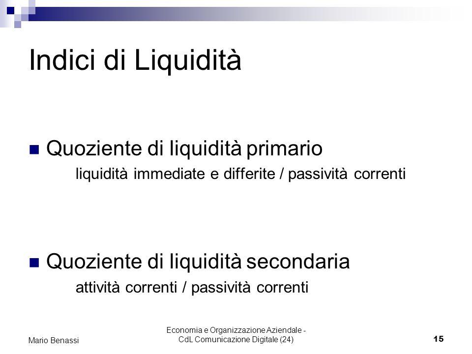 Economia e Organizzazione Aziendale - CdL Comunicazione Digitale (24)15 Mario Benassi Indici di Liquidità Quoziente di liquidità primario liquidità im