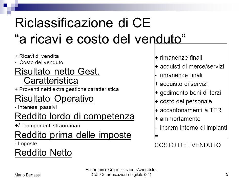 Economia e Organizzazione Aziendale - CdL Comunicazione Digitale (24)6 Mario Benassi Riclassificazione di CE a valore di produzione e valore aggiunto Ricavi di vendita +/- variaz.