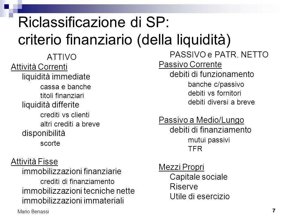 7 Mario Benassi Riclassificazione di SP: criterio finanziario (della liquidità) ATTIVO Attività Correnti liquidità immediate cassa e banche titoli fin