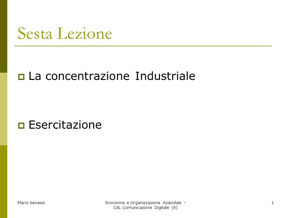 Mario benassiEconomia e Organizzazione Aziendale - CdL Comunicazione Digitale (6) 1 Sesta Lezione La concentrazione Industriale Esercitazione