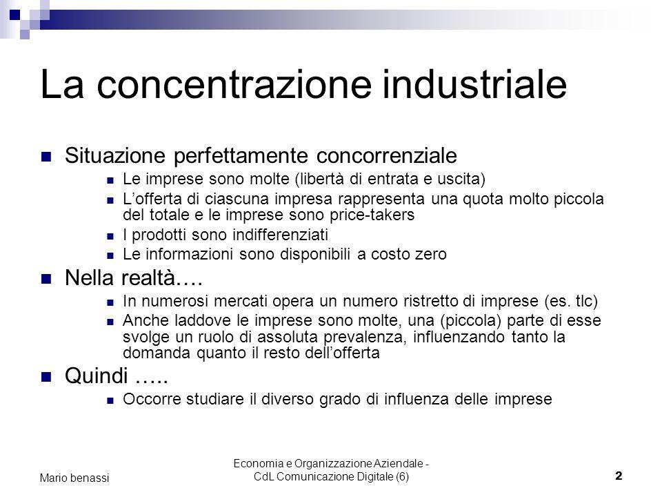 Economia e Organizzazione Aziendale - CdL Comunicazione Digitale (6)2 Mario benassi La concentrazione industriale Situazione perfettamente concorrenzi